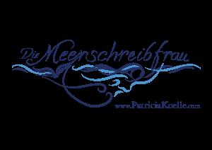 Logo Die Meerschreibfrau - blau - Schriftzug - Frau - Webseite